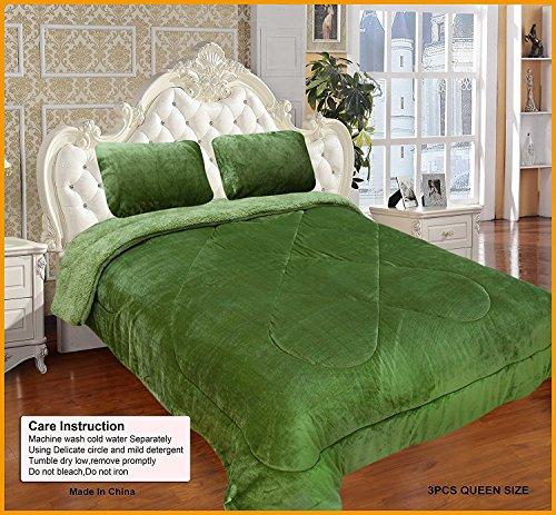 Luxlen Super Soft Borrego Blanket, Reversible to Sherpa, Full/Queen, (Green Reversible Blanket)