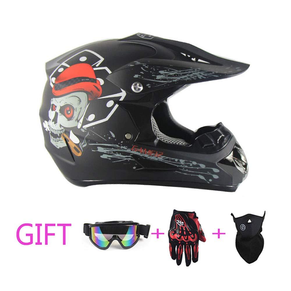 Erwachsene DOT zugelassener Motorrad-Helm Motorhaub ATV Roller Helm mit Brille Offroad-Handschuhe und Maske (schwarzer Geisterkopf),M