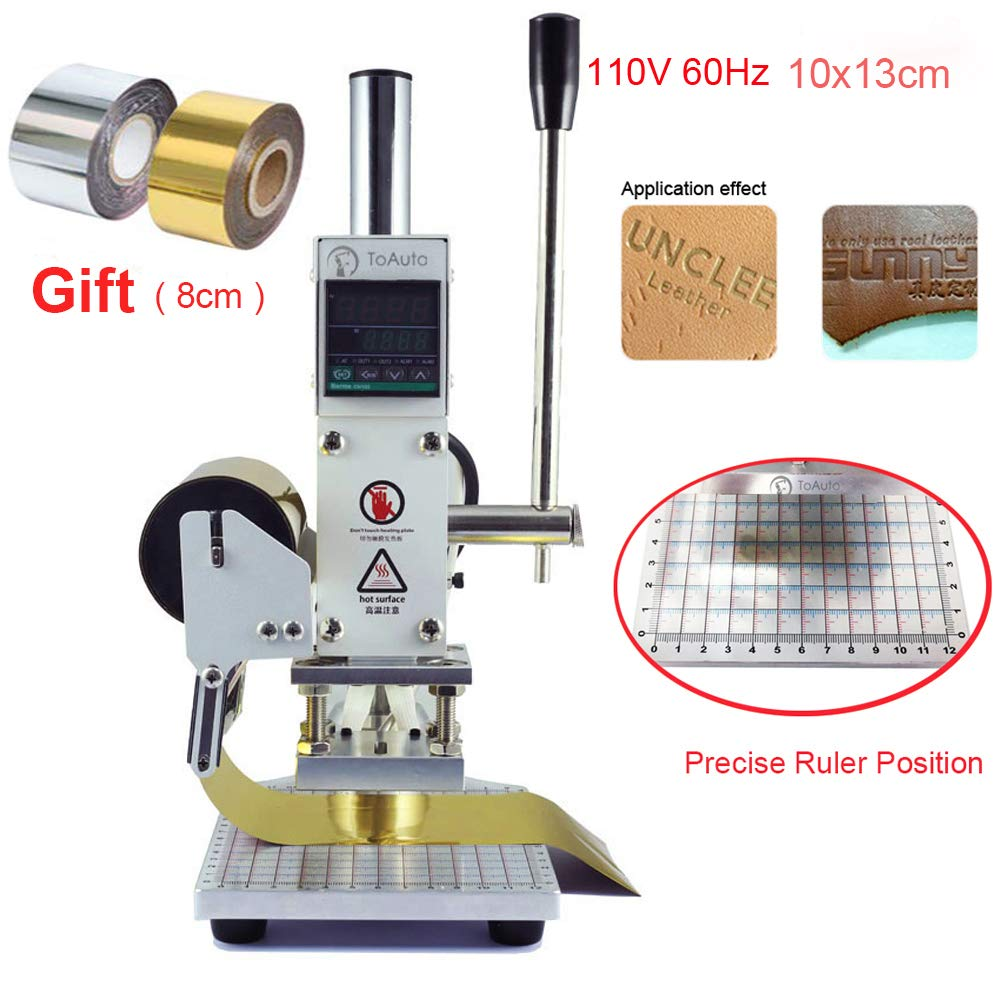 Hot Foil Stamping Machine 10 x 13cm 110V Tipper Stamper Bronzing Card Foil Logo Embossing for for PVC leather PU and Paper Stamping with Holder by TOAUTO