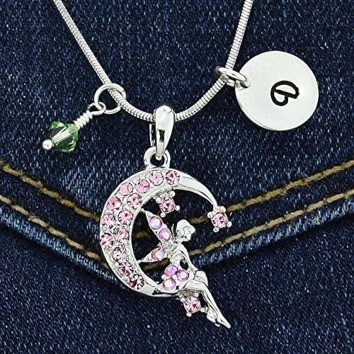 Sparkling Crystal Block Ring Chandelier: Amazon.com: Tinkerbell Fairy On Moon Custom Pink Pendant