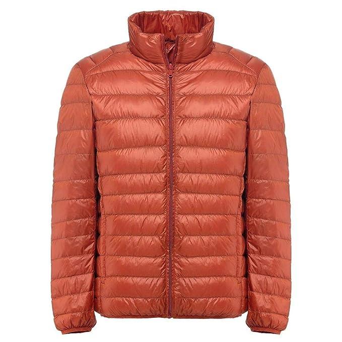 Winter Down Jacket Men White Duck Down Jacket Stand Collar Ultralight Down Chaqueta Hombre Parka Orange