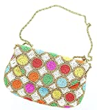 David Jeffery Handbag - Ivory With Multicolor Beads and 24'' Gold Tone Metal Chain Strap, 7''W x 4.5''H