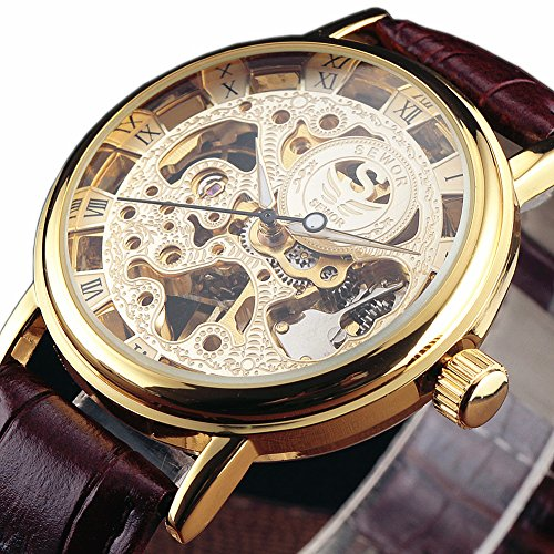 Transparent Gold Watch (SEWOR Gold Transparent Skeleton Watch Men Mechanical Hand Wind Wristwatch Male Fashion Leather Band Wristwatch)