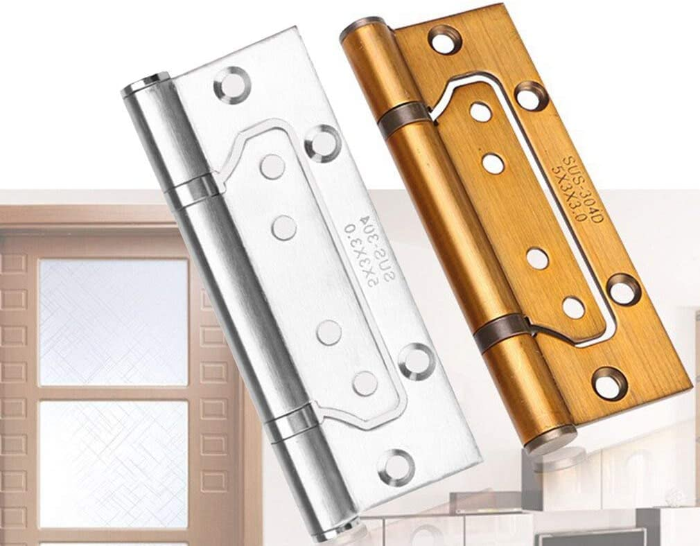 Color: Bronze 5 inch 3.0 Exquisitely Designed Durable Stainless Steel Free Slot Bearing Thickened 2PCS Mute Sub-Door Hinge 100