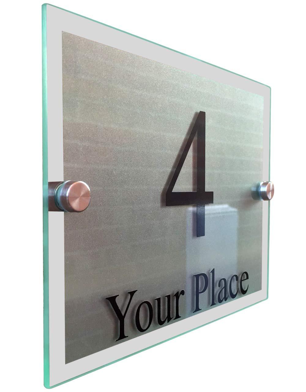 Modern house signsガラス効果アクリルドア数/ストリート/ Medium B01KI4198O