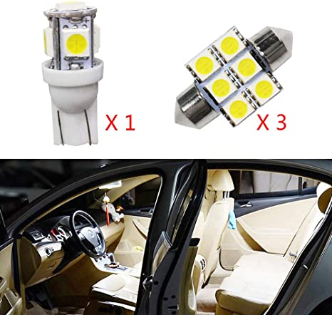 Muchkey LED Auto Lampadina Canbus Sensa Errore LED luci dellautomobile Bulb per XV crosstrek Forester Outback Legacy Impreza LED per la Luce Interna Dellauto Bianco 4 Pezzi