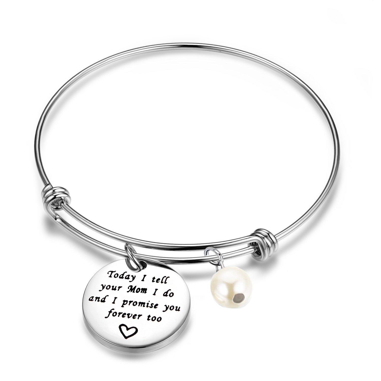ENSIANTH Stepdaughter Bracelet Today I Tell Your Mom I Do And I Promise You Forever Too Bracelet Wedding Gift Blended (Tell Mom Bracelet)