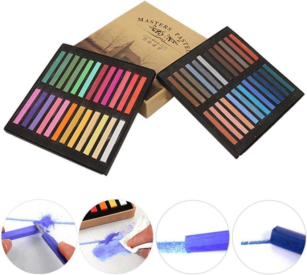 HEEPDD Square Artist Pastels 24 36 48 Assorted Colors Set Soft Pastel Square Chalk Sketch Squares for Professional Pastel Studies Pastel Artwork 12 Colors