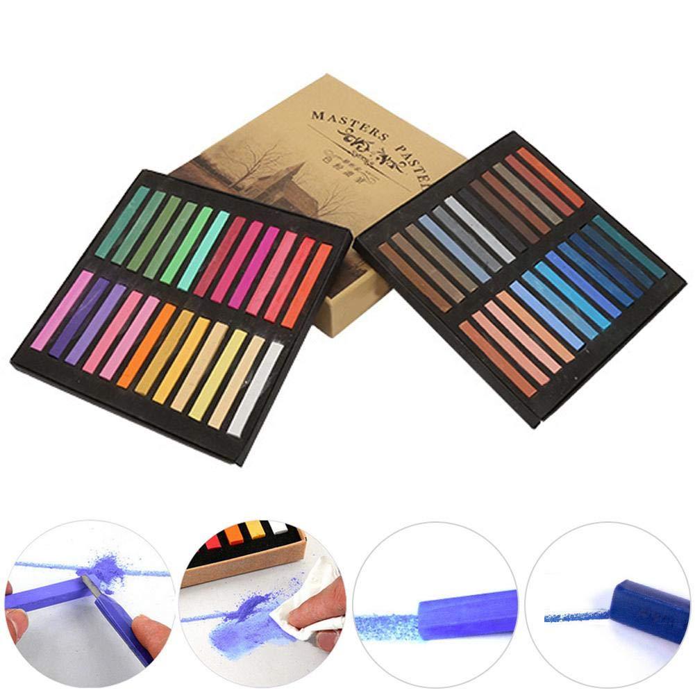 Soft Pastel Set Non Toxic Square Pastels Chalks Square Artist Pastel Set Box of 12//24//36//48 Assorted Colors 24Pcs