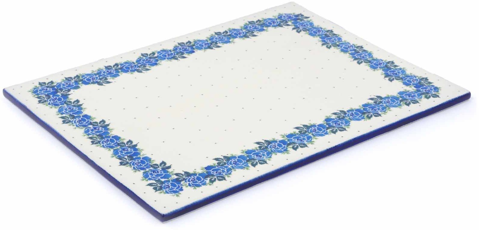Polish Pottery 15¼-inch Cookie Sheet made by Ceramika Artystyczna (Blue Garland Theme) + Certificate of Authenticity