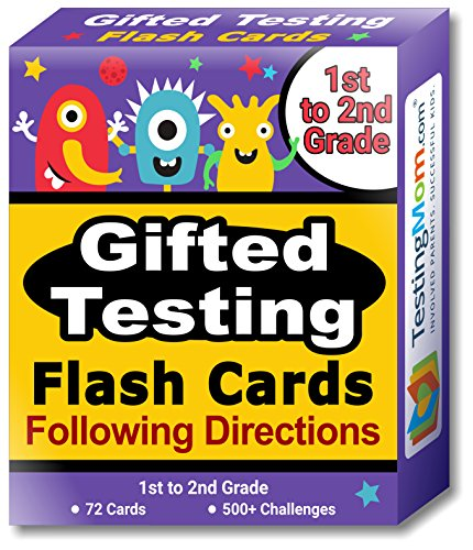 Gifted Testing Flash Cards – Following Directions for Grade 1 - Grade 2 – Educational Toy Practice for CogAT test, OLSAT test, ITBS, NYC Gifted and Talented, WISC, WPPSI (2nd Memory Card)