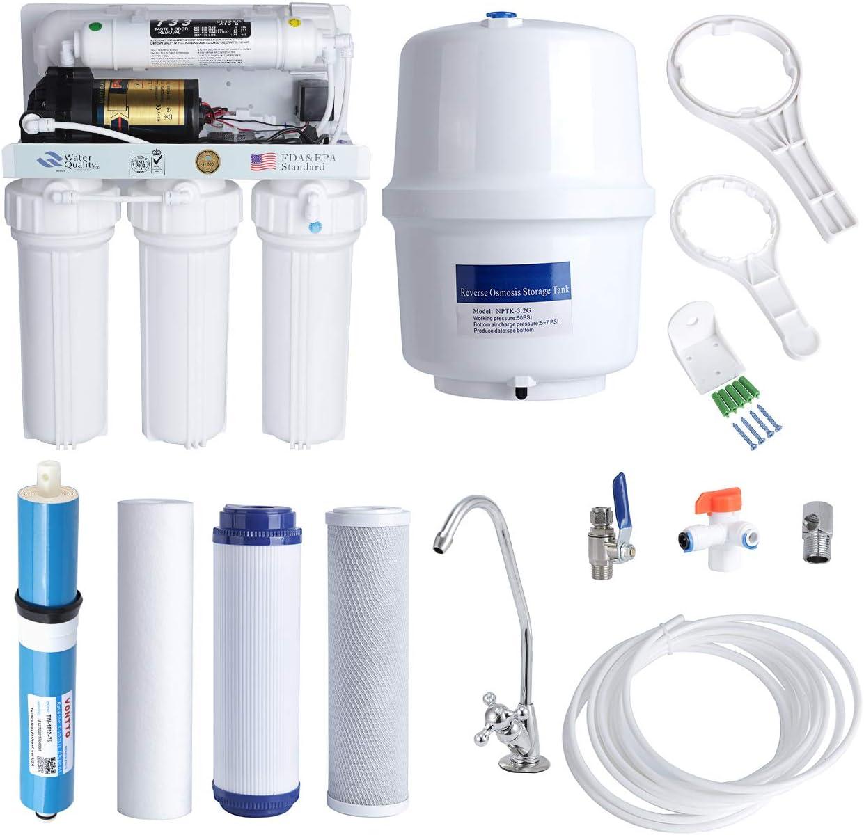 Kit de purificador de sistema de filtración de agua para el hogar de ósmosis inversa de 5 etapas para agua potable ...
