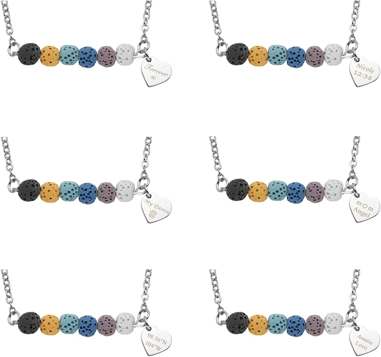Top Plaza Personalized Custom Pendant Necklace Name Words Engraving Dyed Lava Rock Stone Essential Oil Diffuser Bar Necklace