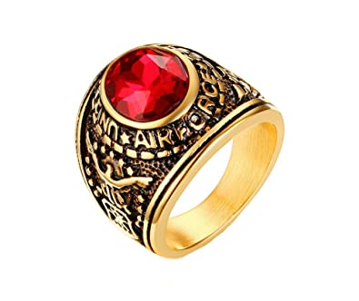 Oakky Men s Stainless Steel Gold Plated Silver Black Air Force Red  Rhinestone Ring Size 8 195cf0fd58
