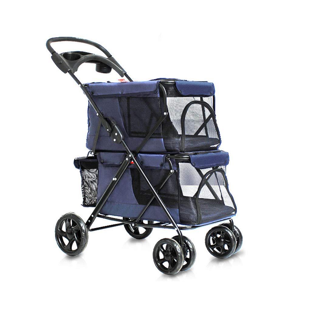 M3 ダブルデッカーペットのベビーカー折り畳み四輪駆動の犬/猫カート軽量シートベルト手ブレは旅行ペットスポーツカー。 犬用カート (色 : 青)  青 B07R8HBC5M