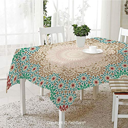 AmaUncle 3D Print Table Cloths Cover Ottoman Mosaic Art Pattern with Oriental Floral Forms Antique Scroll Ceramic Boho Print Resistant Table Toppers (W60 xL84)