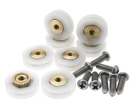 Micro Trader Ruedas para mampara, 8 Piezas, acanaladas, 19 mm de diámetro