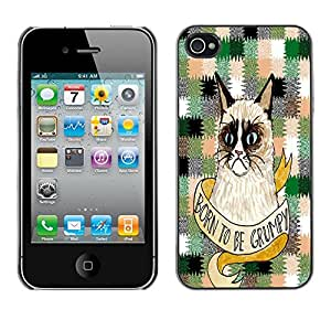 - Chevron Grumpy Cat - - Monedero pared Design Premium cuero del tir¨®n magn¨¦tico delgado del caso de la cubierta pata de ca FOR Apple iPhone 4 4S 4G Funny House