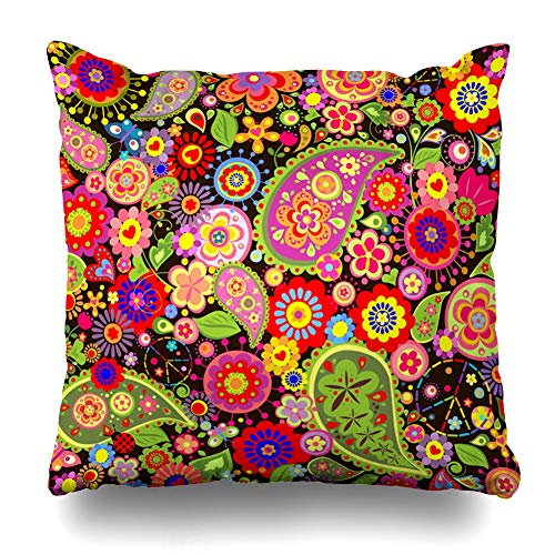 (DIYCow Throw Pillow Covers Back Pattern Floral Hippie Symbolic 60S Happiness Vintage Power 70S Paisley Vibrant Design Revival Home Decor Pillowcase Square Size 18 x 18 Inches Zippered Cushion Case)