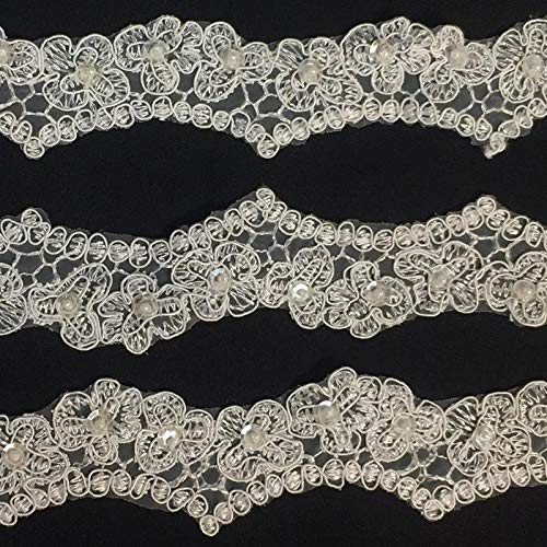 - Bridal Lace Trim Scalloped Alencon Hand Beaded Embroidered Corded Sequined Organza, 2