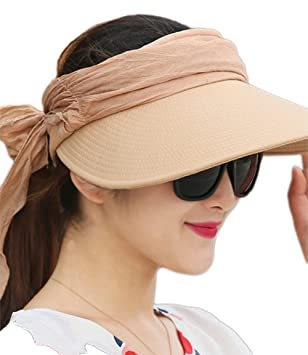 38cf0415783 Westeng Sun Cap Ladies Foldable Beach Outdoor Cap Wide Brim Plain Visor Hat  UV Sun protection