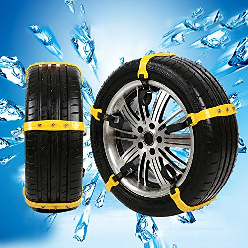 WELOVE Snow Chains Emergency Tire Chains Tire Chains Adjustable Snow Cable Chains Emergency Tractio Chains Fit for Most Car/SUV/Truck 185mm-295mm 10 PC (Yellow2)