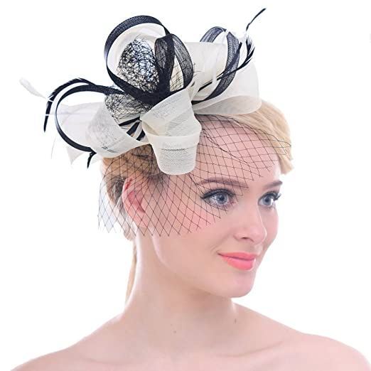 ef8a272c06cc8 FAYBOX Feathers Fascinator Women Net Flower Bow Headbands Derby ...