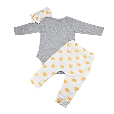 Lurryly 2018 Newborn Baby Boys Girls Cute Bear Tops Romper Pants 3Pcs Outfits Clothes Set 0-18M