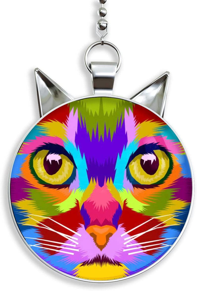 Gotham Decor Colorful Cat Face Cat Shaped Fan//Light Pull Pendant with Chain
