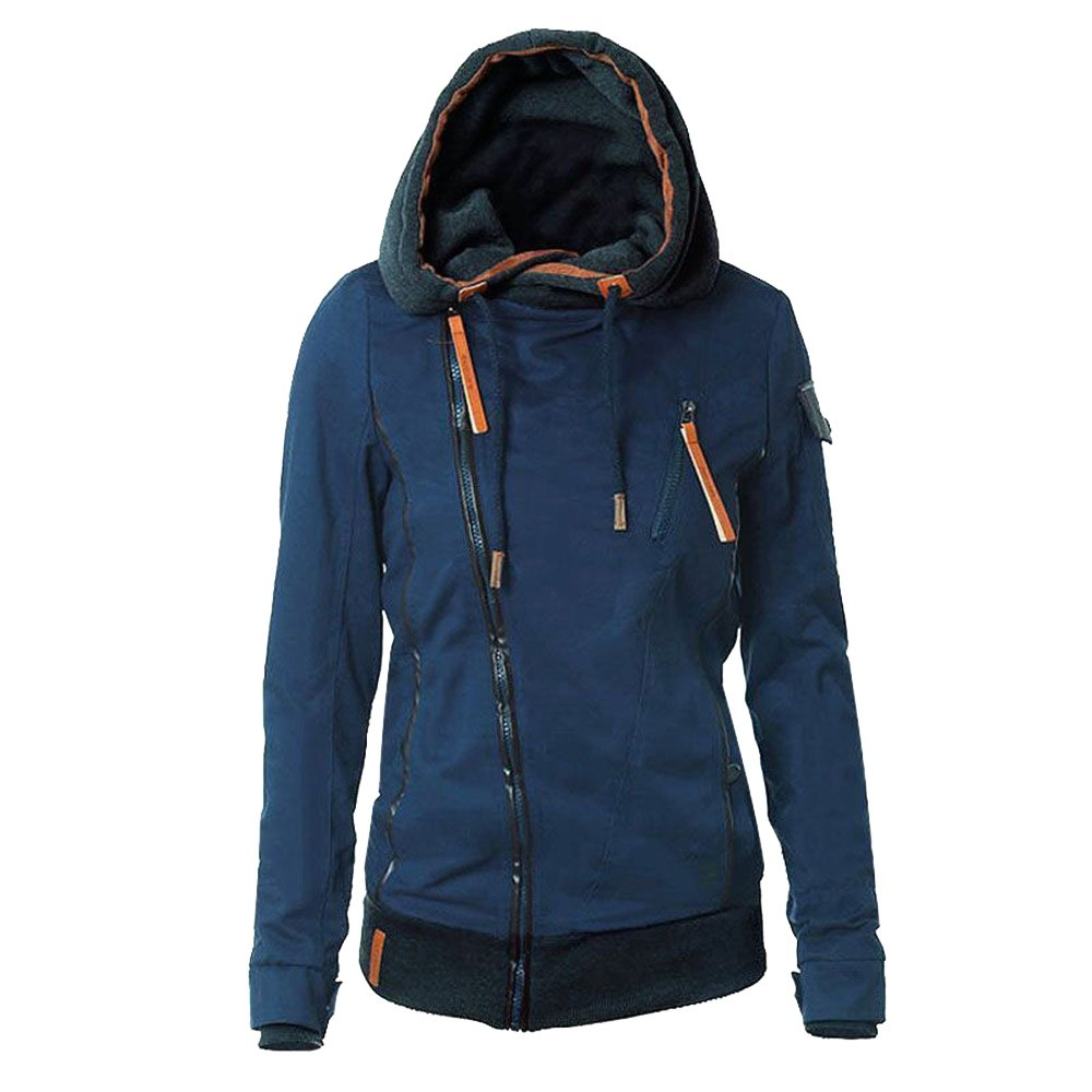 bluee Ourfashion Womens Relaxed Fit Zipper Hooded Jacket Zip Up Hoodie Coat