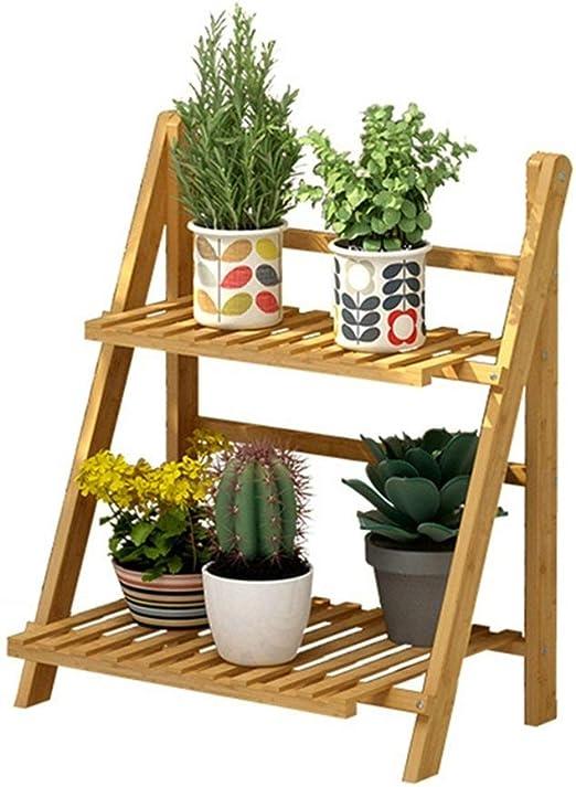 Puesto De Flores,estantes de flores en escalera de 2 niveles Estante de flores plegable de madera Estantes de esquina Expositor de plantas Soporte de macetas de plantas Estante de esquina Estante: Amazon.es: