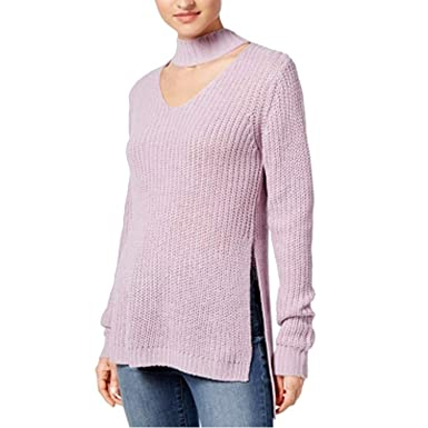 Planet Gold Womens Juniors Cut Out Long Sleeves Choker Sweater At