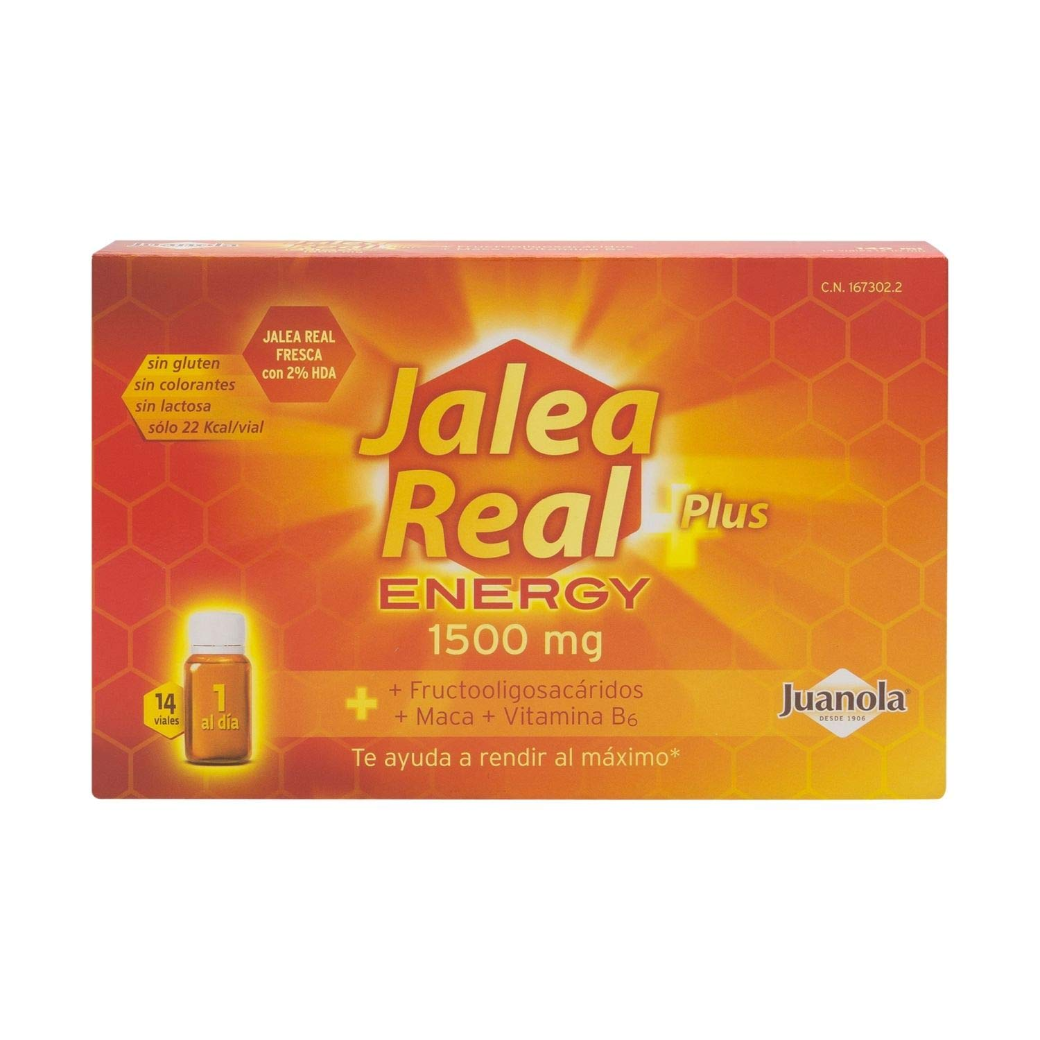 Amazon.com: Juanola Royal Jelly Energy Plus 14 Vials x 10ml - Natural Components - Gluten-Free - Colorants-Free - Lactose-Free - No More Fatigue - Energy ...