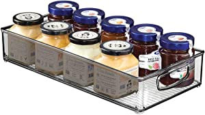 mDesign Plastic Stackable Kitchen Pantry Cabinet, Refrigerator or Freezer Food Storage Bin with Handles - Organizer for Fruit, Yogurt, Snacks, Pasta - BPA Free, 16