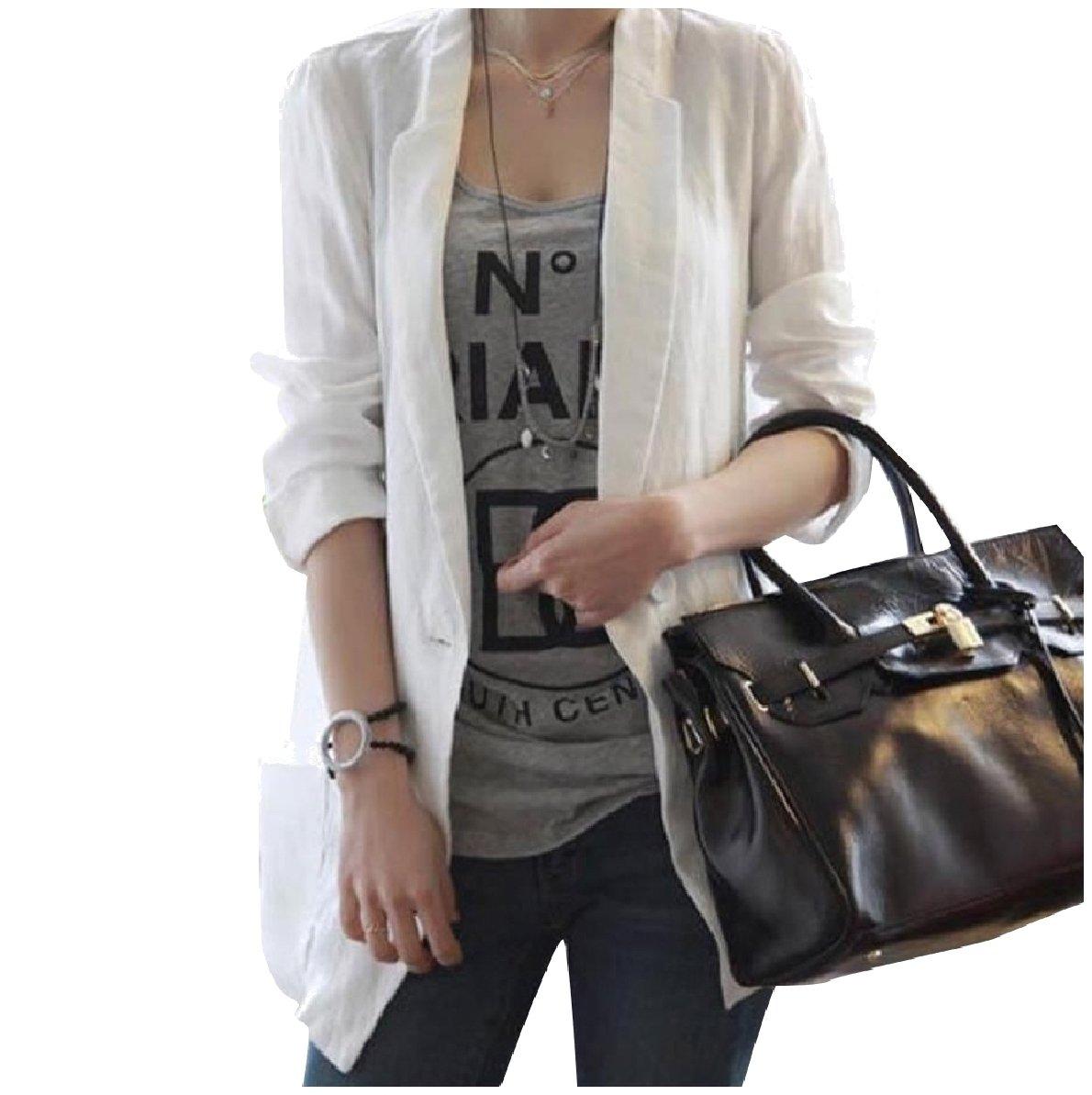Comaba Women Mid-Long Style Long Sleeve 1 Button Summer Blazer Outwear White L