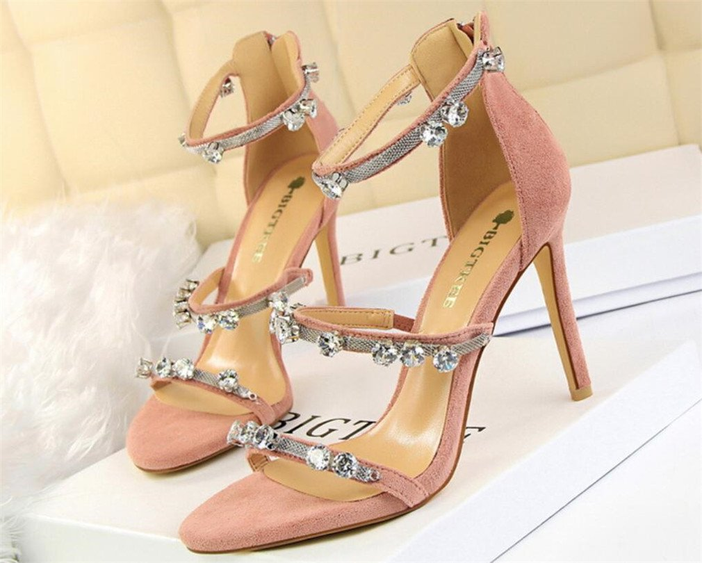 LUCKY ROAD Strass Stiletto Heel High Heels Sandalen Wildleder Plattform Frauen Mauml;dchen Braut Hochzeit Nachtclub Bar Moderne Feminine Schuhe  EU39|Pink