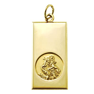 Large mens 9ct gold st christopher pendant with includes jewellery large mens 9ct gold st christopher pendant with includes jewellery gift box mozeypictures Images