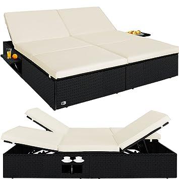 Deuba Sofá - cama de ratán negro con 2 módulos reclinables ...
