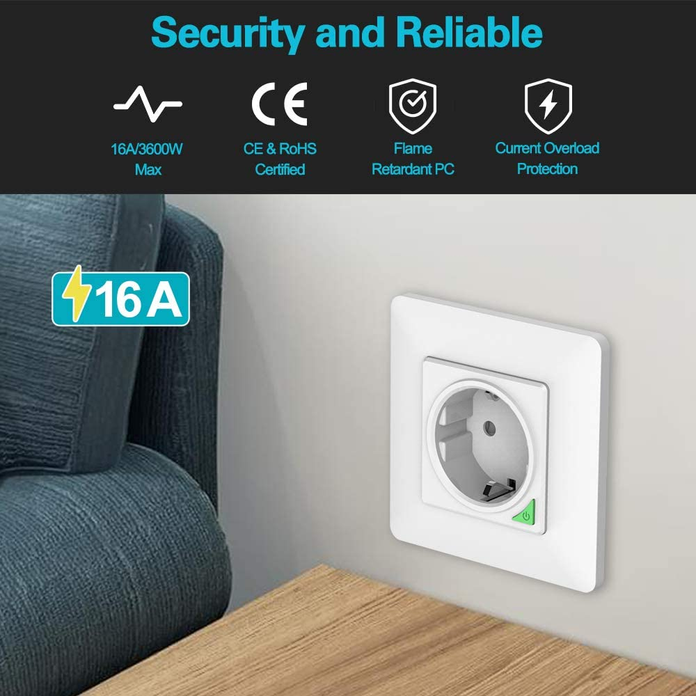 16A Commande Vocale 1 PACK Prise Murale Int/égr/ée Intelligente WIFI Compatible avec Alexa//Google Home//Siri Raccourcis Orbecco WiFi Smart Prise Intelligente WiFi T/él/écommande APP
