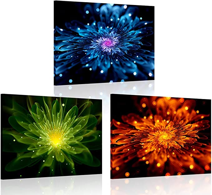 Amazon Com Iknow Foto 3 Pieces Colorful Fiery Fractal Flower Canvas Wall Art Painting Modern Giclee Print Still Life Artwork Blue Green And Orange Abstract Pictures For Bathroom Decor 12x16inchx3pcs Posters Prints
