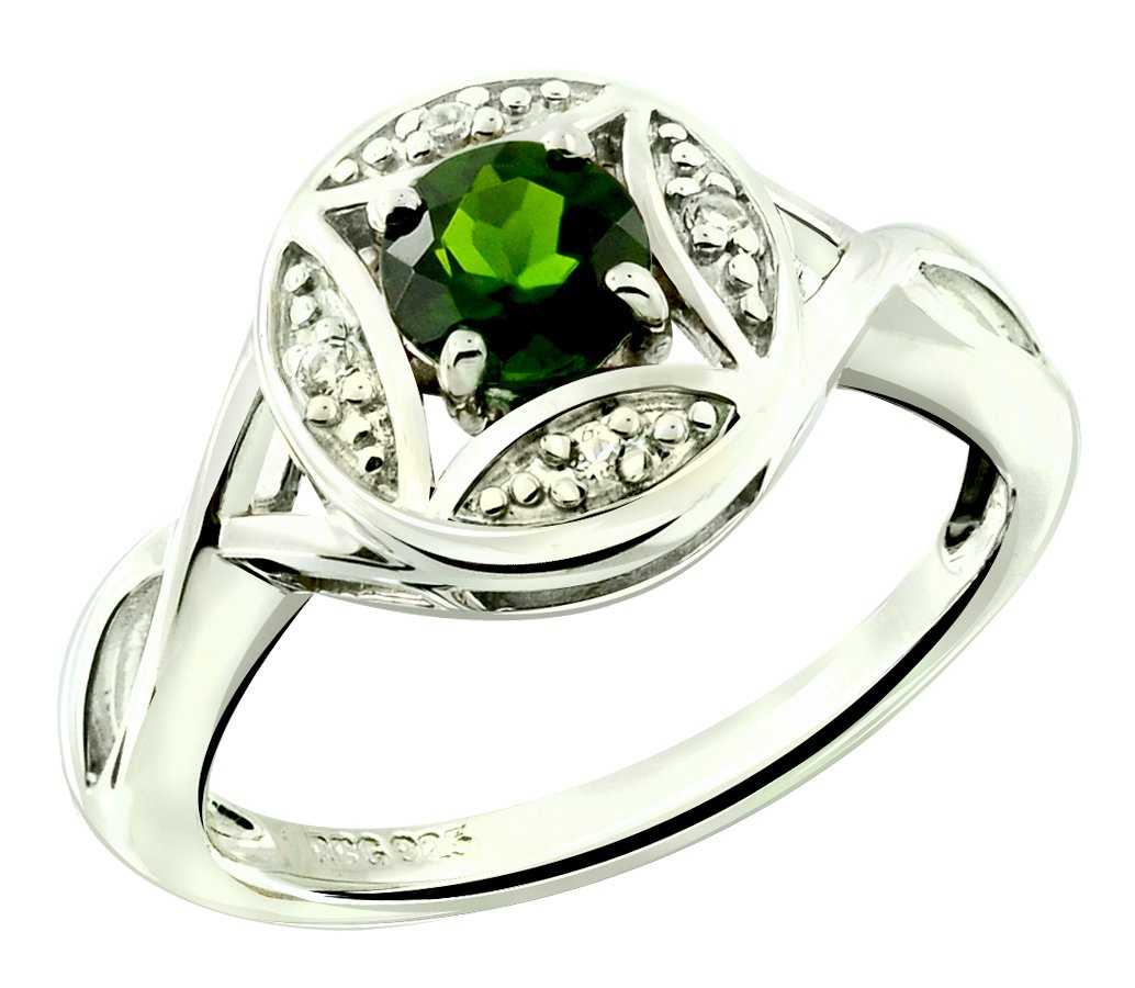 RB Gems Sterling Silver 925 Ring GENUINE GEMS Round 5 mm RHODIUM-PLATED Finish Solitaire Style, Art Deco (9, chrome-diopside)