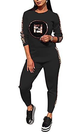 967de7fe98792 Women 2 Piece Outfits Letter Print Long Sleeve Sweatsuits Pencil Pants  Tracksuits Set Jumpsuits Sweatsuits Black