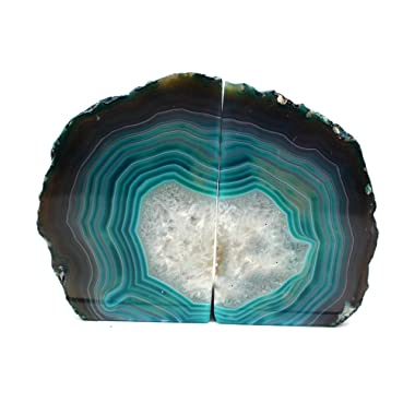 Teal Agate Bookend Pair - 1 to 3 lb - Geode Bookend with Rock Paradise Exclusive COA