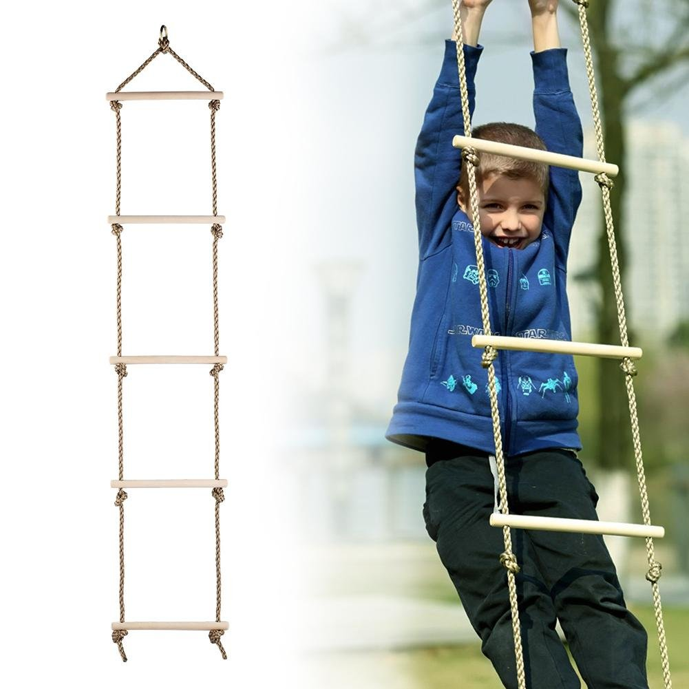 Feileng 5 Steps Climbing Wooden Rope Ladder for Kids Indoor Outdoor Playground