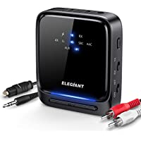 ELEGIANT Bluetooth 5.0 Transmitter Receiver Wireless Audio Adapter Pair 2 Headphones at Once Built-in Microphone LED…