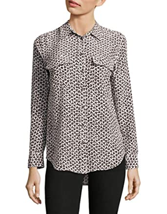 8ca07e59972776 Image Unavailable. Image not available for. Color  Equipment Slim Signature  100% Silk Animal Print Shirt Blouse ...