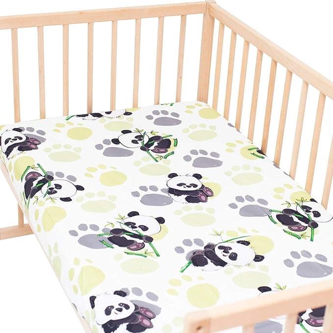Bambú panda - PatiChou 100% Algodón Juego de 2 sábanas bajeras ajustables para minicuna: Amazon.es: Bebé