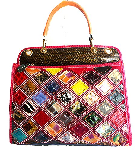 Multicolored Animal Print Snakeskin Look Genuine Leather Satchel Purse Handbag