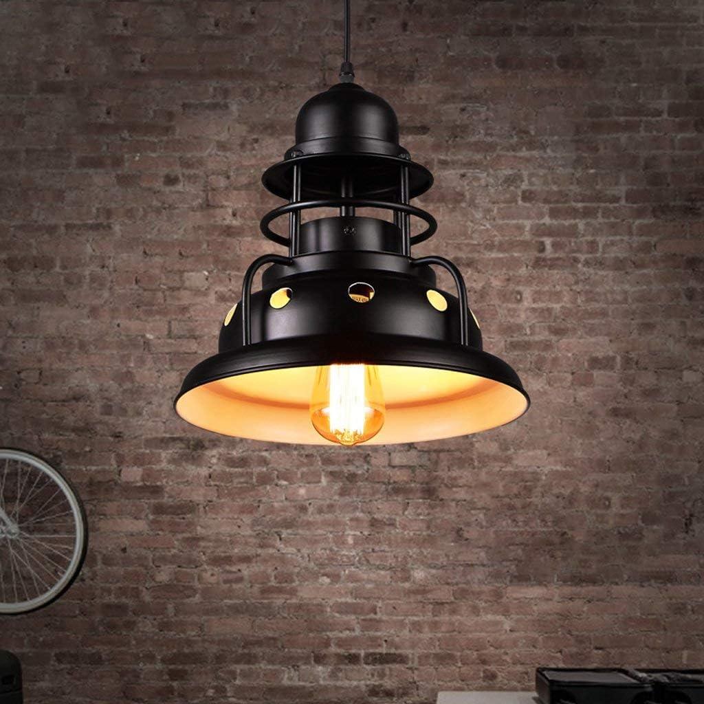 Exterior de restaurante de araña industrial en la viga blanca Araña de hierro negro Lámpara de cabeza única Escalera incandescente creativa