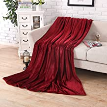 Soffte Cloud Fleece Blanket Soft Warm Fuzzy Plush Throw lightweight Cozy Bed Couch Blanket Burgundy(39 by 55 inches)